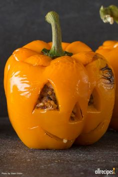 "Stuffed Jack-O-Lantern Bell Peppers | ""These turned out SO ADORABLE and the meat was tender and juicy!"" -Andrea"
