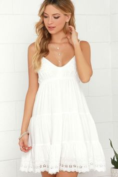 The Weightless Wonder Ivory Embroidered Dress will have you feeling light as a feather on those warm-weather days! Cute cotton dress with ivory embroidery. Grad Dresses, Casual Dresses, Short Dresses, Women's Dresses, Winter Dresses, Dresses For Summer, White Dresses For Women, Summer Clothes, Formal Dresses