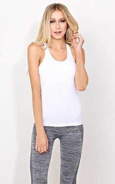 #FashionVault #styles for less #Women #Tops - Check this : White Gym Motivation Knit Tank - - White in Size by Styles For Less for $12.99 USD