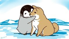 Penguin loves the dog dogs. Penguin Day, Penguin Love, Cute Penguins, Cute Animal Drawings, Cute Drawings, Funny Animal Pictures, Cute Pictures, Lilies Drawing, Penguin Drawing