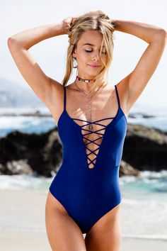 Saskia One Piece Bikini in Vintage Navy - Beach Babe Swimwear® @celestebrightt