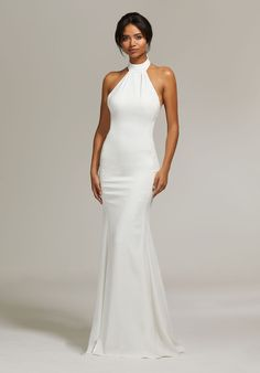 Wedding Gown Morilee 8301 Rachel Crepe Halter Fitted Wedding Dress - Sophisticated, Stretch Crepe Wedding Dress with Jersey Lining, Featuring a High Halter Neckline with Molded Collar and Open V Back. A Chapel Length Train Completes the Look Crepe Wedding Dress, Wedding Dress Backs, Simple Wedding Gowns, Wedding Dresses 2018, Backless Wedding, Perfect Wedding Dress, Bridal Dresses, Modest Wedding, Event Dresses