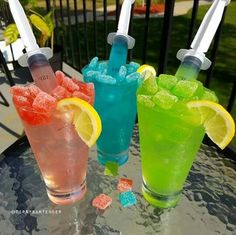 SOUR KANDY KOCKTAILS Green: 2 oz. (60 ml) Tequila 1 oz. (30 ml) Sour Apple Pucker Fill with green apple flavored drink Syringe: 1/2 oz. (15 ml) 151 & Green Apple flavored drink  Red: 2 oz. (60 ml) Vodka 1 oz. (30 ml) Strawberry pucker Fill with Strawberry Kiwi Mystic Syringe: 1/2 oz. (15 ml) 151 & Strawberry Kiwi Mystic  Blue: 2 oz. (60 ml) White Rum 1 oz. (30 ml) Island punch pucker Fill with Bahama Blueberry Mystic Syringe: 1/2 oz. (15 ml) 151 & Bahama Blueberry Mystic