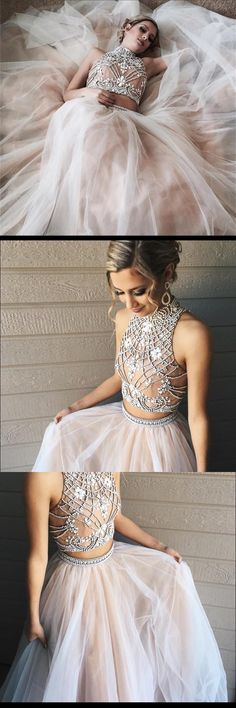 Tulle Two Piece High Neck Popular Custom Prom Dress, Party Dress, PD0320 #sposabridal #promdresses #party