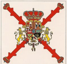Reales Guardias Españolas. Bandera de Batallón 1748-49 Molon Labe, Spanish, Hobbies, Arms, Flag, Military, Spain Flag, Napoleonic Wars, 18th Century