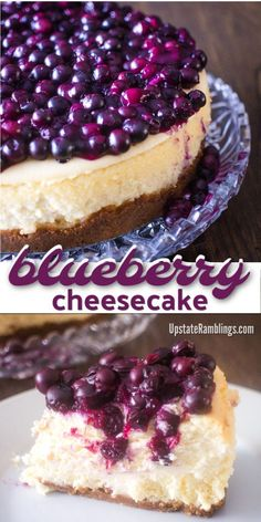 Make this delicious Spring dessert! New York style cheesecake topped with fresh … Make this delicious Spring dessert! New York style cheesecake topped with fresh blueberries. This classic cheesecake recipe is perfect for Easter! Chocolate Cheesecake Recipes, Baked Cheesecake Recipe, Best Cheesecake, Classic Cheesecake, Pumpkin Cheesecake, Blueberry Cheesecake Topping, Cheesecake Toppings, Christmas Cheesecake, Homemade Cheesecake