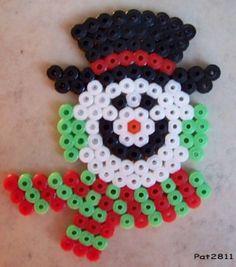 Snowman hama perler beads by Les loisirs de Pat