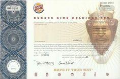 Burger King Stock Certificate