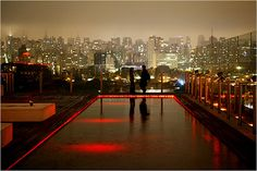 skyline at the rooftop bar at Unique, Sao Paulo