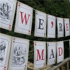Mad Hatters Tea Party, We're all Mad Here Bunting Large