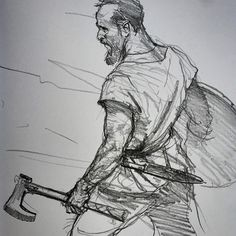 Viking by Karl Kopinski. – Art Drawing Tips Figure Drawing, Drawing Reference, Karl Kopinski, Drawing Sketches, Art Drawings, Sketching, Viking Drawings, Warrior Drawing, Viking Art