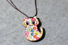 Cat Charm Necklace, Cat Charm Keychain, Flower Cat by AsymmetricalBalance on Etsy