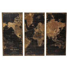 Instantly create a well-traveled look in your room with the Aspire Home Accents Stanford World Map Wall Decor - Set of 3 . This set includes three panels,. World Map Wall Decor, Wood World Map, Wall Decor Set, Wall Maps, Art Decor, Wall Decorations, Wall Décor, Wood Panel Walls, Panel Wall Art