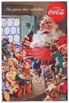 Haddon Sundblom, criador do Papai Noel da Coca-cola Coca Cola Vintage, Coca Cola Christmas, Vintage Christmas Cards, Retro Christmas, Vintage Cards, Vintage Labels, Vintage Holiday, Santa Christmas, Father Christmas