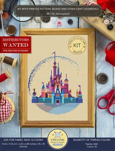 It is a cross-stitch KIT for Disneyland. If you need the pdf pattern only, it is available here: https://www.etsy.com/listing/560834267/modern-cross-stitch-pattern-of?ga_search_query=disneyland&ref=shop_items_search_1 KIT #1 INCLUDES: ⇒ A4 format (210 x 297 mm - 8.3 x 11.7 in)