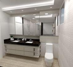 Banho casal com armário e painel em laca