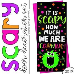 Door Decoration Set: SCARY - This is perfect for a Halloween alternative or monster Monster Door Decoration, Halloween Door Decorations, First Grade Classroom, Classroom Themes, Disney Classroom, School Classroom, Halloween Bulletin Boards, Monster Bulletin Boards, Monster Classroom