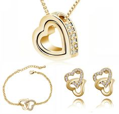 Free Shipping Wholesale wedding bridal fashion Czech rhinestone Crystal rhinestones Double Heart necklace earrings Jewelry Sets
