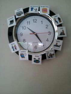 PECS picture clock to help with daily tasks. Speech Therapy Activities, Learning Activities, Kids Learning, Classroom Organisation, Classroom Management, Organization Ideas, Pecs Pictures, Picture Clock, School