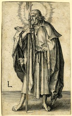 St Matthew; with a halberd in his right hand.  c.1510 Engraving