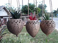 3 Pcs  Coconut Shell Hanging Planter  Hanging Candle Holders