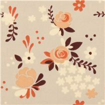 Tissu bio Birch Fort Firefly couleur taupe avec des roses