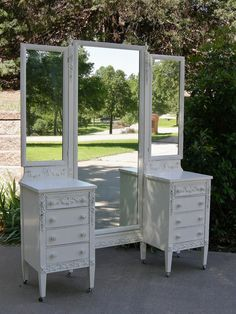 Antique VANITY - Shabby White Painted - Chic ROSES - Red Barn Estates - Sligh Mfg Co Bedroom Furniture