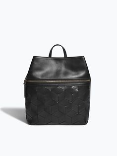 Leather Backpack Purse in Black - Woven Leather Handbags   Welden
