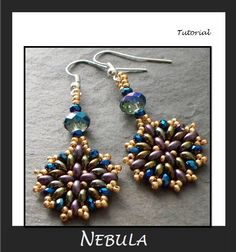Beading Tutorial, Twin Bead Earrings pattern,  SuperDuos, Step by Step with Detailed Diagrams, Nebula. $3.50, via Etsy.
