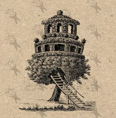 Treehouse Tree Vintage image Instant Download Digital