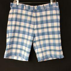 Mens Lot of 2 Alan Flusser Golf Bermuda Shorts Plaid Sz 38 Blue and Green  #AlanFlusser
