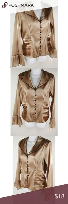 """Blouse Shimmer Shaped Shirred Poet Cuff Shirt NWT *New With Tag * No rips, stains, tears or other signs of shop/shelf wear  Tagged as Size 16  Light Brown  Bust Measures 44"""" (around garment at armpits) Waist Measures 40"""" (approximately 6"""" below bust) Hips Measure 44"""" (approximately 6"""" below waist) Shoulders Measure 16¼"""" (across back at tops of sleeves) Sleeves Measure 23½"""" (from shoulder seam to hem) Length Measures 23"""" (from top of shoulder to back hem)  66% Polyester, 23% Nylon, 11%…"""