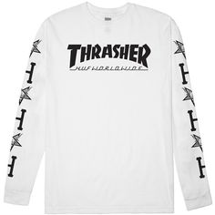HUF HUF X Thrasher White Long Sleeve Tee (43 CAD) ❤ liked on Polyvore featuring tops, t-shirts, huf, white t shirt, long sleeve tops, longsleeve t shirts and white tee
