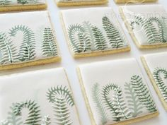 fern leaves - wet-on-wet, then icing on top with 2 colours dragged through