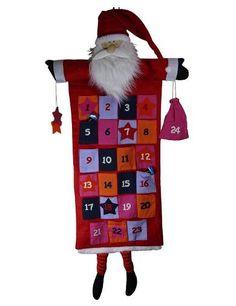 Large Santa Claus Advent Calendar Sew Pocket Hanging Decoration Father Christmas #MediaUK