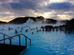 12 natural swimming pools...Blue Lagoon Iceland.  Really want to visit here!