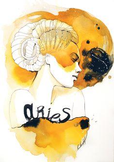 Arte Aries, Aries Art, Zodiac Art, Zodiac Signs, Aries Aesthetic, Anime Zodiac, Tarot, Weird Art, Watercolor Portraits