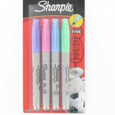 Sharpie Fine Tip Permanent Marker Pastel Colours 4 Pack Sharpie Pack, Arte Sharpie, Sharpie Crafts, Sharpie Markers, Sharpies, Tape Crafts, Marker Pen, Permanent Marker, Diy Back To School Supplies