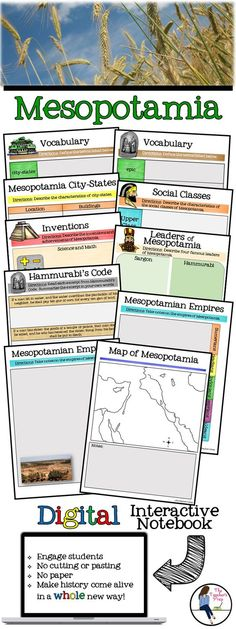 These 8 digital interactive notebook activities for Google Drive will help students organize information about Mesopotamia! Answer key included!