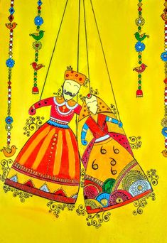 """""""Rajasthani Puppets"""" by Nilima Biswas, PAINTING, x x cm, Canvas Paper, Acrylic paint Rajasthani Painting, Rajasthani Art, Dark Art Drawings, Art Drawings For Kids, Madhubani Art, Madhubani Painting, Worli Painting, Fabric Painting, Diy Canvas Art"""