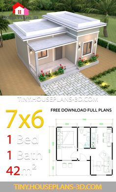 House Plans with One Bedroom Flat Roof - Tiny House Design One Bedroom House Plans, One Bedroom Flat, My House Plans, Small House Plans, Tiny House Layout, House Layout Plans, Small House Design, House Layouts, House Construction Plan