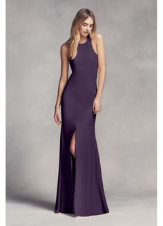 Long Halter Bridesmaid Dress with Skirt Slit VW360297 $179