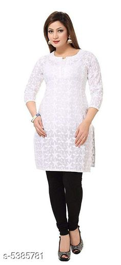 Checkout this latest Kurtis Product Name: *Women's Chikankari White Cotton Kurti* Fabric: Cotton Sleeve Length: Three-Quarter Sleeves Pattern: Embroidered Combo of: Single Sizes: S (Bust Size: 36 in, Size Length: 44 in)  M (Bust Size: 38 in, Size Length: 44 in)  L (Bust Size: 40 in, Size Length: 44 in)  XL (Bust Size: 42 in, Size Length: 44 in)  XXL (Bust Size: 44 in, Size Length: 44 in)  XXXL (Bust Size: 46 in, Size Length: 44 in)  4XL (Bust Size: 48 in, Size Length: 44 in)  5XL (Bust Size: 50 in, Size Length: 44 in)  6XL (Bust Size: 52 in, Size Length: 44 in)  7XL (Bust Size: 54 in, Size Length: 44 in)  Country of Origin: India Easy Returns Available In Case Of Any Issue   Catalog Rating: ★4.4 (226)  Catalog Name: Women Cotton A-line Embroidered Yellow Kurti CatalogID_801792 C74-SC1001 Code: 057-5385781-6141