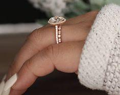 3.00ct Moissanite Engagement Ring, Oval 10x8mm Moissanite 14k Rose Gold and Diamond Ring, Diamond Half Eternity Milgrain Band, Promise Ring