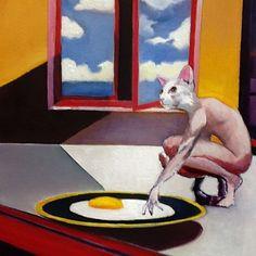 NFAC Original Oil Painting Surrealism Catman Egg 12x12 Sunrise Food by Bobby G #Surrealism