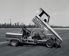 Vintage Drag Racing - Funny Car - The Bronco Buster Ford Bronco.one of the most creative funny cars in its day Vintage Race Car, Vintage Trucks, Old Race Cars, Classic Chevy Trucks, Hot Rod Trucks, Drag Cars, Ford Bronco, Car Humor, Drag Racing