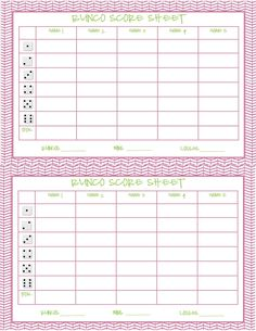 Recipes from Stephanie: Free Bunco Printable