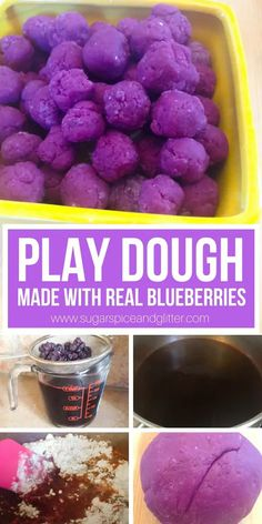 How to make natural play dough with real blueberries! This play dough smells delicious and is perfect for playing bakery. There are so many benefits to letting kids play with play dough - sensory, emotional and academic Playdough Activities, Fun Activities For Toddlers, Educational Activities For Kids, Enrichment Activities, Parenting Toddlers, Kids Fun, Toddler Snacks, Toddler Play, Sugar Free Juice