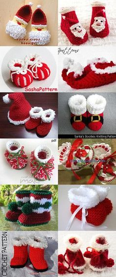 """Christmas Baby Booties Red Boo """"Note to self: find the links to the knitting patterns. This link is only to a crochet retail pattern."""", """"Christmas Baby"""
