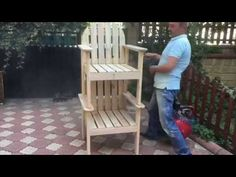 Single Seat Made Of Wooden Pallets Wooden Crafts, Diy And Crafts, Garden Furniture, Outdoor Furniture, Pallet Bench, Outdoor Chairs, Outdoor Decor, Wooden Pallets, Pallet Projects